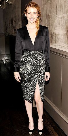 Lose the plunging neckline and the high slit in the skirt and these patterned look would work in the office.