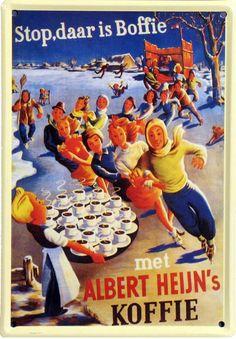 Stop - Daar is Boffie met Albert Heijn's Koffie. Ice Skating illustrated poster.