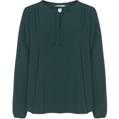 Zizzi Dark-Green Plus Size Tie neck blouse (765 ARS) ❤ liked on Polyvore featuring tops, blouses, plus size, plus size sheer blouse, neck-tie, sheer long sleeve top, long sleeve tie neck blouse and j.crew blouse