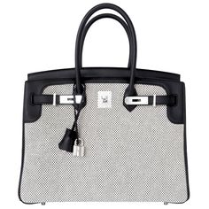 View this item and discover similar top handle bags for sale at - Hermes  Black Swift Leather Criss Cross Ecru Graphite Toile Birkin Brand New in Box. 2bdc462466ff8