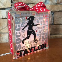 Soccer Girl Typography GemLight, Personalized by GemLights on Etsy