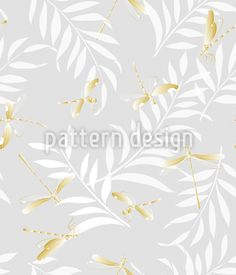 Golden Dragonflies Repeat Pattern Repeat Pattern by Iris Choi at patterndesigns.com