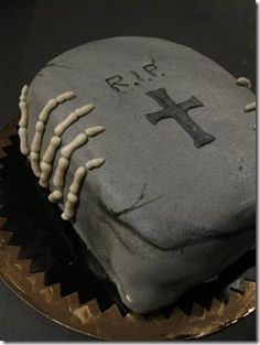 Scary cake - Halloween skeleton and RIP tombstone