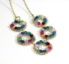 Wire crocheted necklace Colorful Swarovski and by SigalsDesigns, $75.00