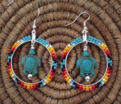 Navajo Native American Beaded Green Turquoise Turtle Hoop Earrings