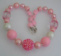 Girls Chunky Necklace Pink Kids Necklace Chunky by PeppermintPlace, $18.00