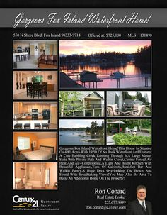 PRICE CHANGE  Gorgeous Fox Island Waterfront Home!This Beautiful Home Is Situated On 4.81 Acres With 192Ft Of Waterfront And Features A Cute Babbling Creek Running Through It,A Large Master Suite With Private Bath And Walkin Closet  Contact Ron Conard Conard @ (253) 677-9999 MLS # 1131490 http://550nshoreblvd.c21.com/