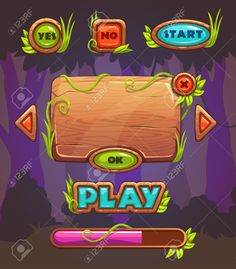 Cartoon wooden game user interface, vector assets for mobile games UI design on forest background Stock Vector - 51642029 Game Background, Forest Background, Level Design, Design Design, Design Ideas, Forest Games, Gui Interface, 2d Game Art, Game Ui Design