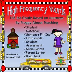 1st g. High Frequency Words: Notebook 3 (Journeys L 21-30) First Grade Lessons, First Grade Activities, Listening Activities, School Resources, Teacher Resources, Learning Resources, Word Wall Kindergarten, Vocabulary Games, Spanish Vocabulary