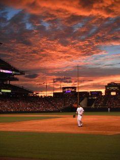 Colorado Rockies Baseball on 7/31/2012 and a Denver Bronco Sky