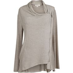 Velvet by Graham and Spencer Jesseray Cozy Jersey Zip-Up Cardigan ($150) ❤ liked on Polyvore featuring tops, cardigans, tan, long tan cardigan, drape cardigan, long brown cardigan, collar cardigan and tan top