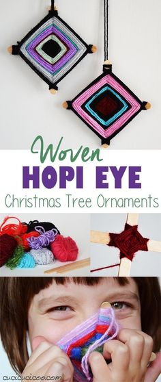 Use up yarn scraps with this fantastic holiday craft for kids! These Hopi Eye yarn Christmas ornaments are easy, colorful and fun to make. They also make great gifts! www.cucicucicoo.com