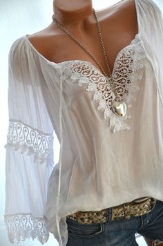 Häkel Tunika CARMEN Weiß Flügelärmel Häkelspitze BOHO Bluse 36 38 40 42 NEU in Kleidung & Accessoires, Damenmode, Blusen, Tops & Shirts | eBay!