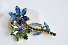 vintage blue and green flower brooch from evertonterrace on etsy