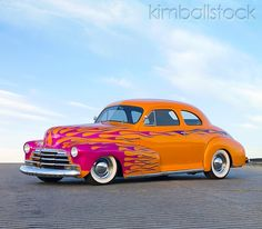 AUT 26 RK2727 01 - 1948 Chevrolet Coupe Hot Rod Orange And Pink 3/4 Front View On Pavement - Kimballstock