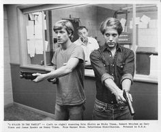 "Scene from ""A Killer In The Family"" starring Robert Mitchum as Gary Tison  -Eric Stoltz as Rick Tison and James Spader as Donny tison Teenage sons help their father escapee from prison."