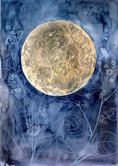 11 x 14  Questa è una stampa dellillustrazione originale di Christine Lindstrom. Titolo - Moon Garden    * * È dotato di un robusto sostegno e bella