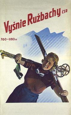vintage ski poster - Anonym, ca. 1 9 3 0,  Tschechoslowakei  Vysnie Ruzbachy Tiefdruck.