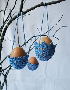 Hanging crochet egg basket from Mikalinos