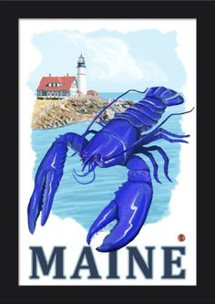 Black Pattern Youre My Lobster Bar Harbor 18x12 Giclee Art Print, Gallery Framed, Black Wood Maine
