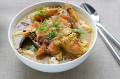 Parihuela - Peruvian Style Seafood Soup: this soup is made with a variety of fresh seafood and Peruvian hot peppers. The result is a seafood soup that is light, healthy, moderately spicy and nourishing.