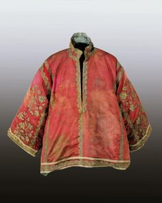 shirt of László Esterházy?  Accession Nr.: 52.2370.1 Collection: Textile and Costume Collection Date: mid 17th century Place of production: Hungary Italy Materials atlas silk Techniques embroidered with gilded silver thread Dimensions: length: 78 cm width: 94 cm -