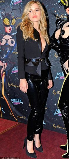 Lovely in latex: Georgia May Jagger opts for a daring look as she attends The Mugler Folli. Pvc Leggings, Moves Like Jagger, Georgia May Jagger, Model Street Style, Tuxedo Jacket, Inspiration Mode, Celebs, Celebrities, Passion For Fashion