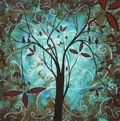 Turquoise Tree Art 'Romantic Evening' Whimsical Trees Modern Wall Decor Giclée on Metal, Contemporary Landscape Abstract Artwork (Duncanson) Modern Playroom, Modern Wall Decor, Tree Wall Art, Tree Art, Romantic Home Decor, Blue Home Decor, Romantic Evening, Whimsical Fashion, Contemporary Landscape