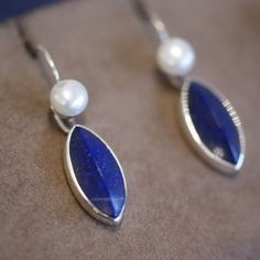 Mexican Stone and Silver Earring, Diamond Shape