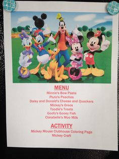 Disney Movie Night Menu: Mickey Mouse Clubhouse annette@wishesfamilytravel.com