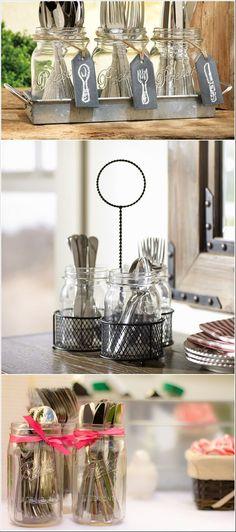 Vidros para organizar os talheres. Detalhe: etiqueta imitando quadro negro                                                                                                                                                                                 Mais