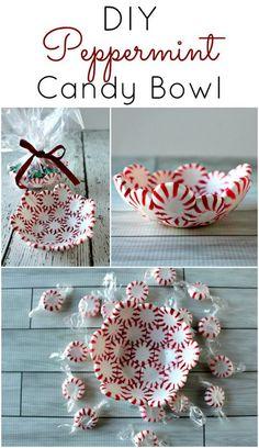 DIY Peppermint Candy Bowls.