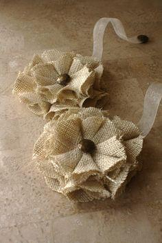 Lazo magnético arpillera respalda las flores por nikycoleshop