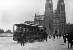 Tram in Náměstí Míru square, c. 1900 (photo courtesy of www. Transport Museum, Public Transport, Old Pictures, Old Photos, Heart Of Europe, South Tyrol, History Photos, Central Europe, Travel Abroad
