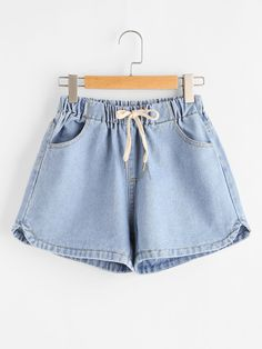 SheIn offers Elastic Waist Dolphin Hem Denim Shorts & more to fit your fashionable needs. Sweater And Shorts, Denim Shorts, Loose Shorts, Short Shorts, Blue Shorts, Cute Dresses, Short Dresses, Denim Fashion, Fashion Outfits