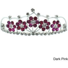 Kate Marie 'Kyle' Floral Rhinestones Tiara ($14) ❤ liked on Polyvore featuring accessories, hair accessories, tiaras, crowns, jewelry, hair combs, crown hair comb, tiara hair comb, rhinestone crown and flower crown
