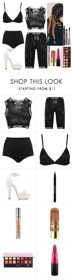 """""""Untitled #6669"""" by kimboloveniallhoran ❤ liked on Polyvore featuring Moschino, Topshop, Lavish Alice, Forever New, Urban Decay, L.A. Girl, MAC Cosmetics and Barry M"""
