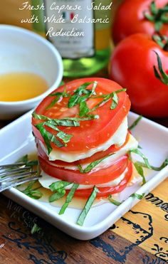 Fresh Caprese Salad with White Balsamic Reduction. Beautiful, simple summer salad, ideal for lunch on a hot day.