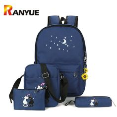 64cbf920ce Kashidinuo Brand 5 Pcs Set Women Backpacks Cute Cat School Bags For Teenage  Girls Printing Canvas Backpacks Ladies Shoulder Bags