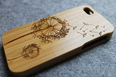 bamboo - real wood iphone 5 case wooden iphone 5 case - dandelion iphone 5 case  WAnt