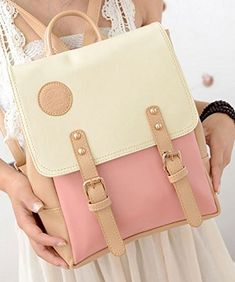 FDorla New Vintage Casual Womens Backpack School Bag Fashion Travel School Pu Leather Handbag Ipad Bag More Colors Avaliable PinkX ** Details can be found by clicking on the image.