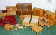 Altes Puppenmöbel Puppenstube Puppenzimmer Schlafzimmer Puppenschrank Puppen