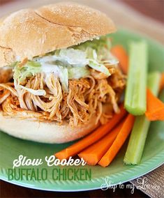 Slow cooker buffalo chicken makes perfect buffalo chicken sandwiches and wraps. The easiest crock pot recipe. www.skiptomylou.org #crockpotrecipes #slowcookerrecipes