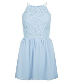 Teens Pale Blue Floral Print Lace Panel Dress  | New Look