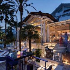 The magnificent Sea Grill restaurant at Puente Romano Resort & Spa, Marbella, Spain Marbella Spain, Grill Restaurant, Timber Structure, Resort Spa, Cape, Grilling, Pergola, Travel Photography, Architecture