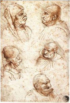 Five Caricature Heads - by : Leonardo da Vinci - Gallerie Dell' Accademia - Venice, Italy