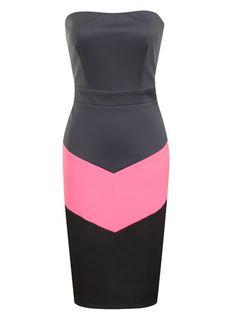 Grey,Pink+Black Bandeau Dress - Paper Dolls  - Dresses