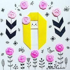 #ロングヘアー さんとピンクの#お花 #イラスト #春  #おりがみ #折り紙 #女の子 #spring  #origami  #paperflower #longhair  #illustration  #papercraft  #girl #kawaii
