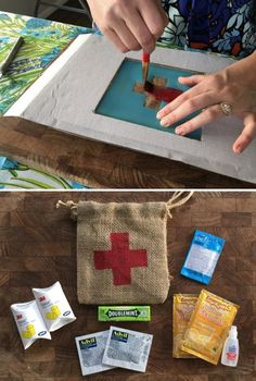 """DIY project that your wedding guests will love - especially if you have guests visiting from out of town. This emergency bag (aka """"hangover kit"""") filled with goodies is easy to make too!"""