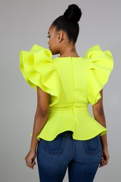 Style 4563 Description This peplum top features, a stretchy fabric, round neckline sleeveless, finished with a back zipper closure. Model is wearing a small Hand wash cold water Do not bleach MODEL STATS Height: / / Latest African Fashion Dresses, African Dresses For Women, African Print Fashion, African Wear, Girly Outfits, Chic Outfits, Classy Outfits, Fashion Outfits, Peplum Top Outfits